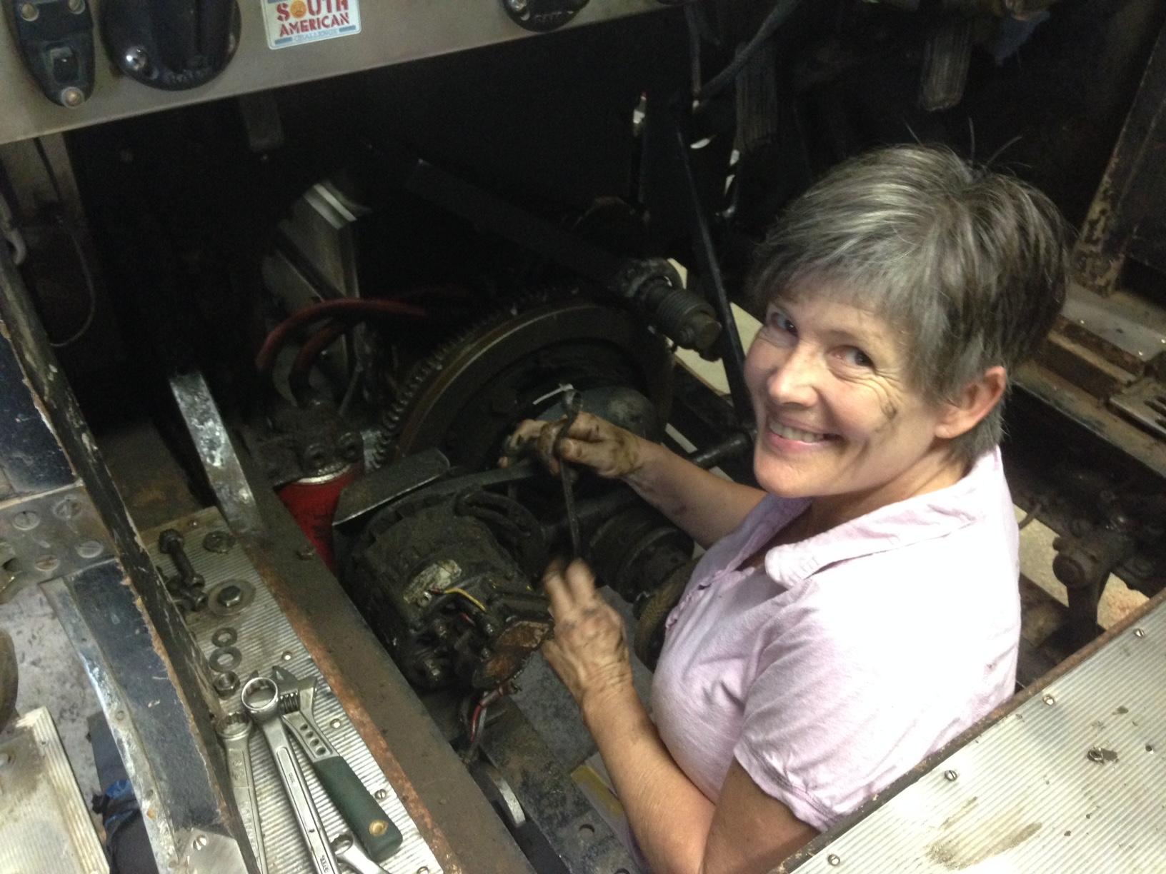 Julie taking alternator out