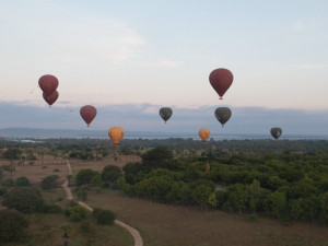 Myanmar Bagan Balloon over temples-9557