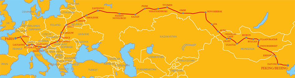 Peking to Paris route