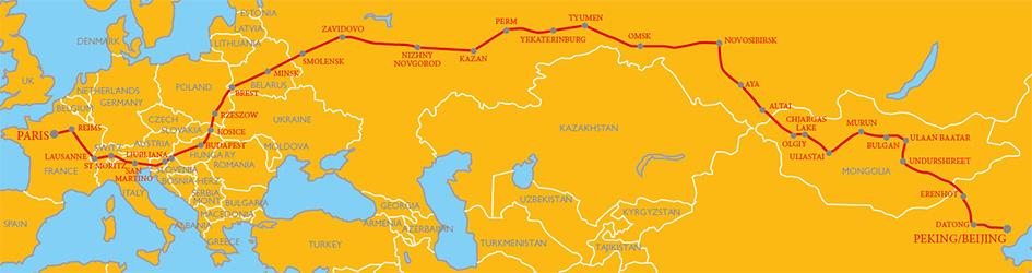 Peking to Paris route